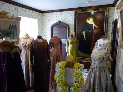 Vintage clothing in the Dressing Room, Athelhampton House, Dorset