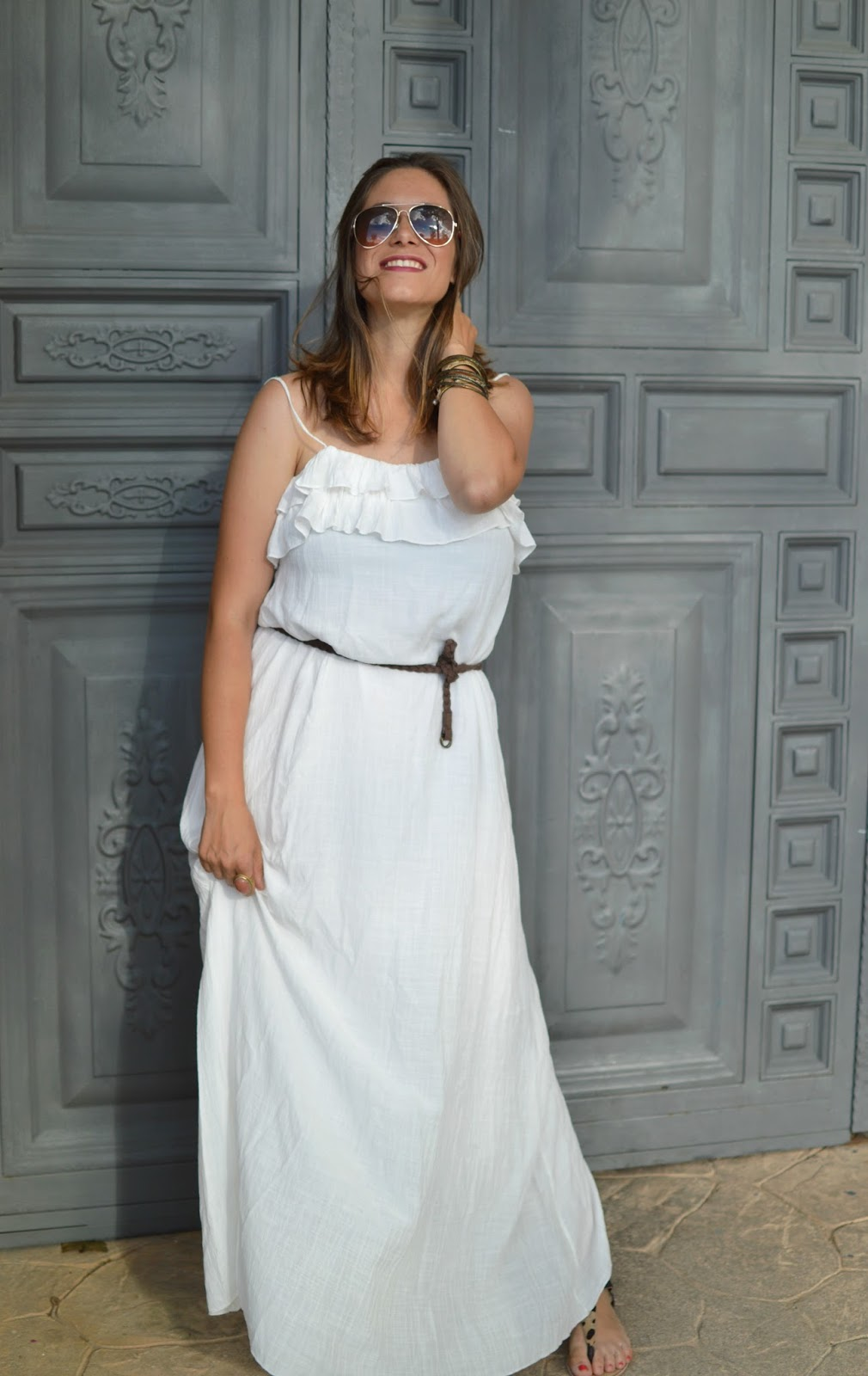 Look vestido blanco largo