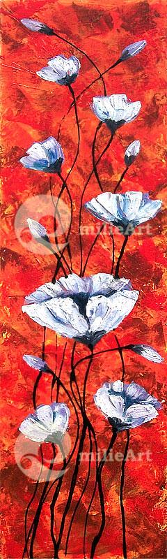 lukisan bunga modern palet