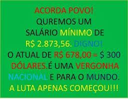A imagem mostra o valor do salário minimo e como o DIESE propõe para a dignidade do trabalhador.