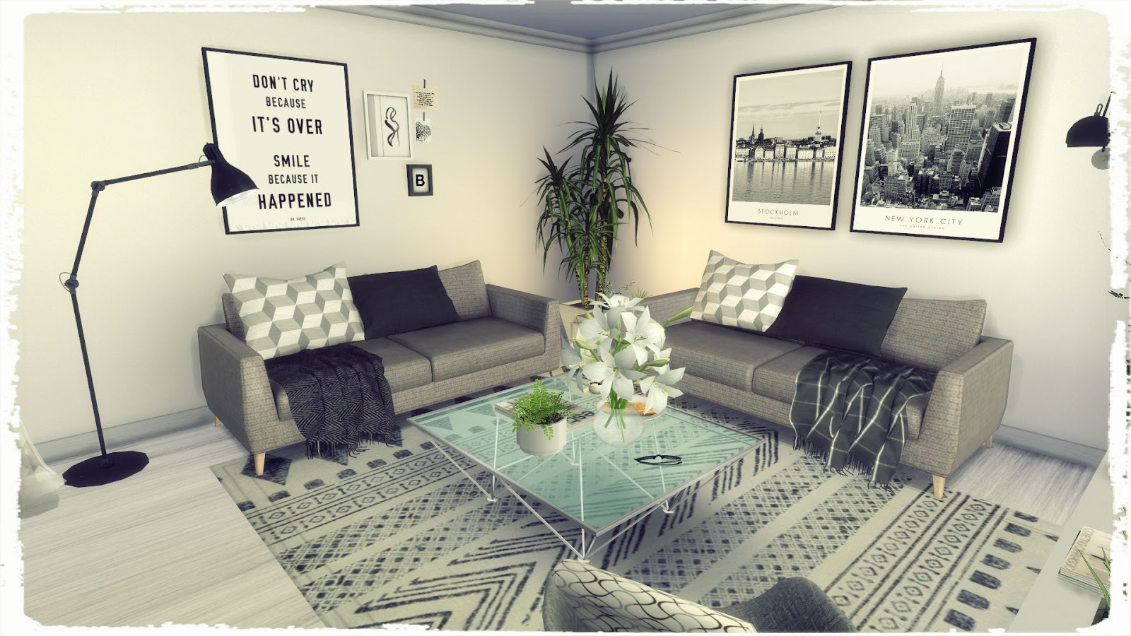 sims 4 grey deco livingroom build decoration for
