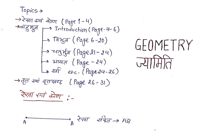 Geometry Handwritten Notes in Hindi PDF Download