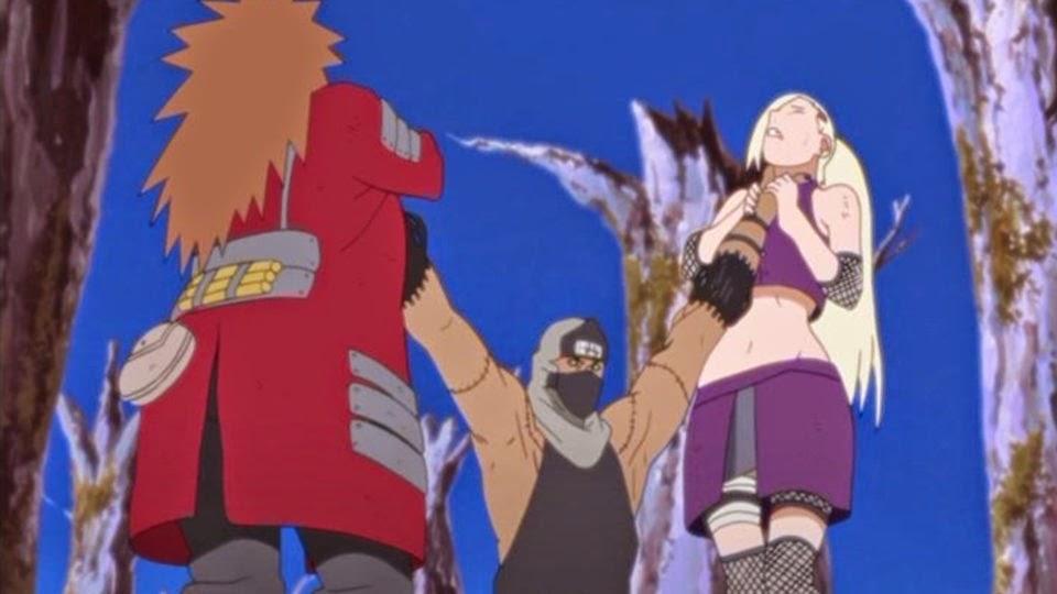 Kakuzu ataca a Choji y Ino