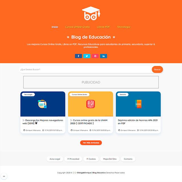 inicio XML Educación plantilla blogger