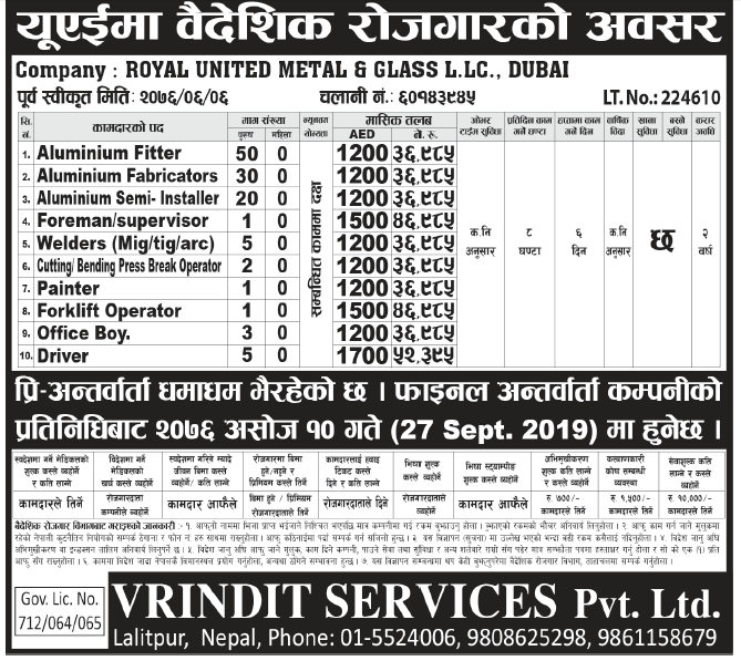 Jobs in UAE for Nepali, Salary Rs 52,395