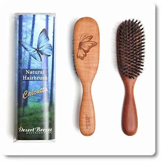100% Pure Calcutta Wild Boar Bristle Hair Brush, Butterfly Engraving
