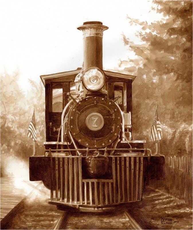 14-Silverwood-Steam-Train-Karen-Eland-The-World-Through-Coffee-Paintings-www-designstack-co
