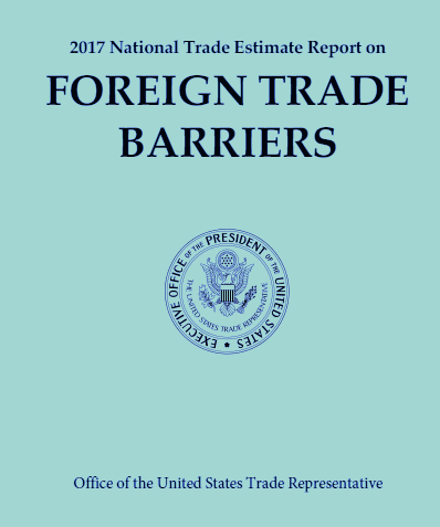 Cover of The 2017 National Trade Estimate Report on Foreign Trade Barriers