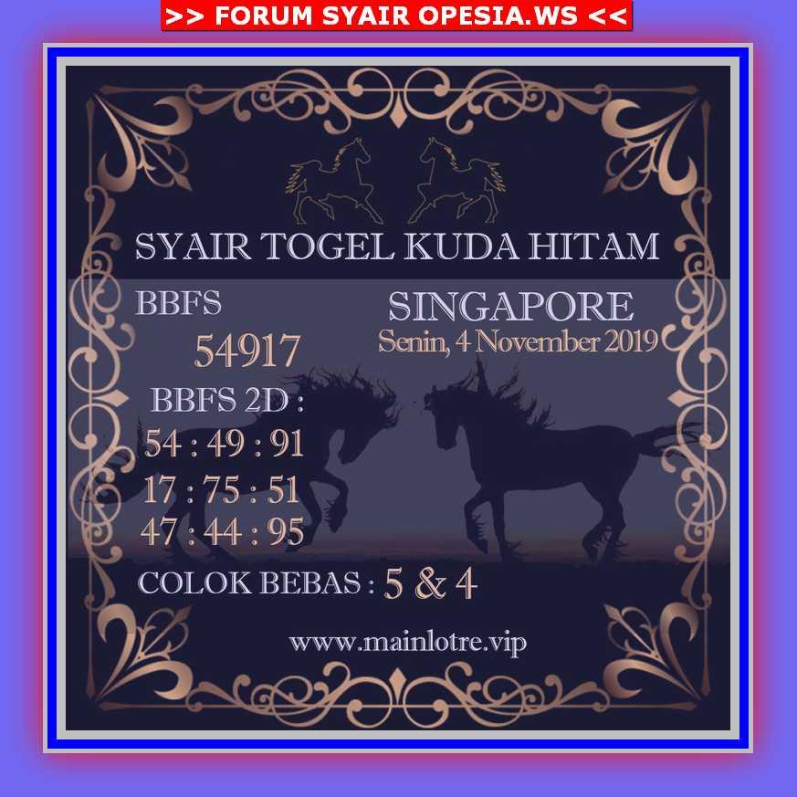 Kode syair Singapore Senin 4 November 2019 122