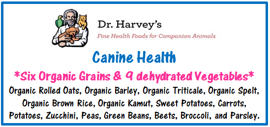 List of 6 organic grains and 9 dehydrated vegetables in Dr. Harvey's Canine Health