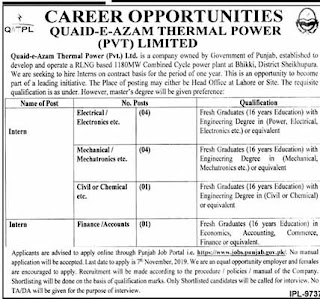 Jobs in Quaid-e-Azam Thermal Power Limited