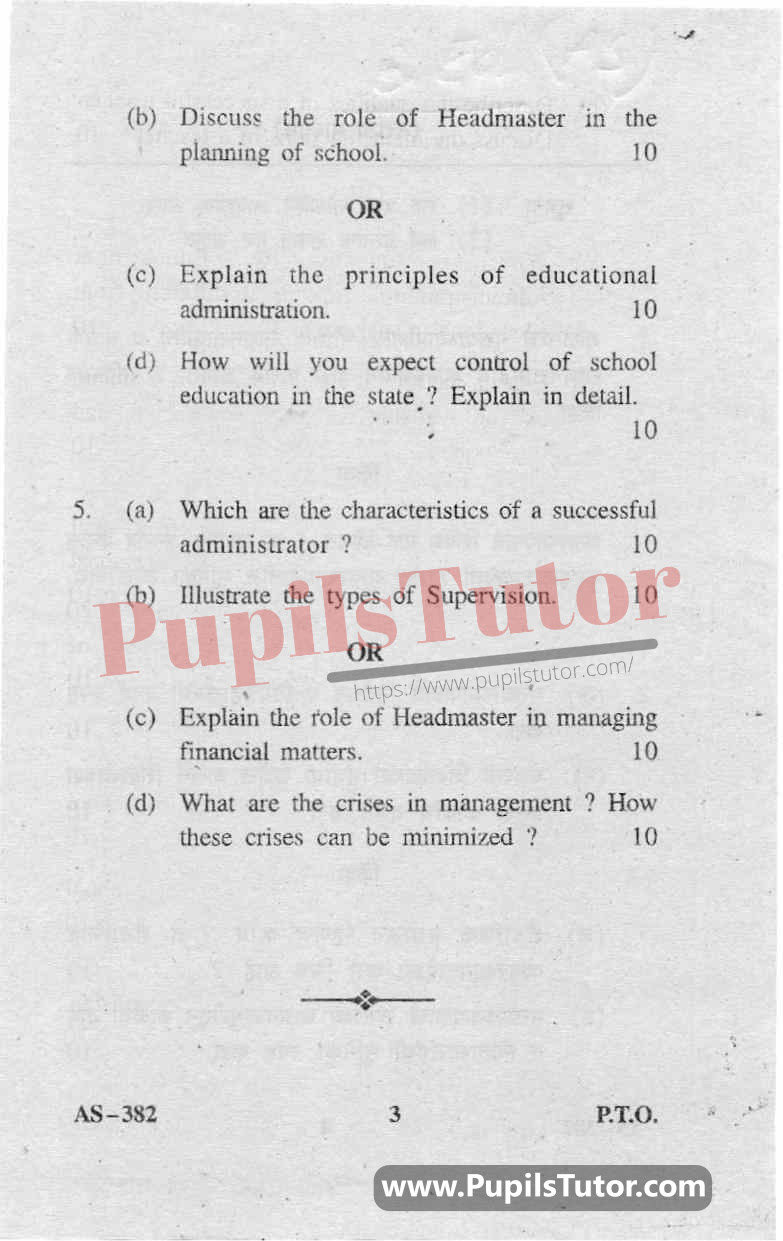 Educational Administration And Management Question Paper In English