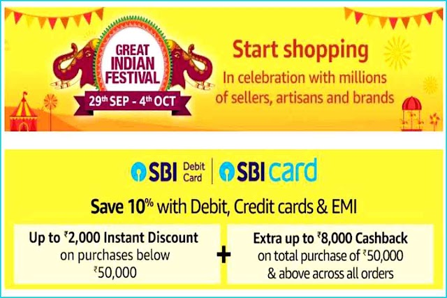 Amazon Great Indian Festival 2019 Sale start on 29 September- To 4 October 2019: Up to 90% off + Extra 10% SBI Card discount