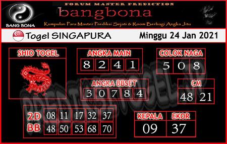 Prediksi Togel Bangbona Singapura Minggu 24 Januari 2021