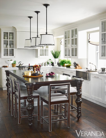 Veranda Spotlighted A Kitchen That Had Modern Lighting Suspended Over A  Traditional Table And Chair Set. Pin Striping On Upholstery ...