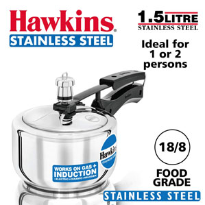 Hawkins Stainless Steel Pressure Cooker 1.5 litres Silver (HSS15)