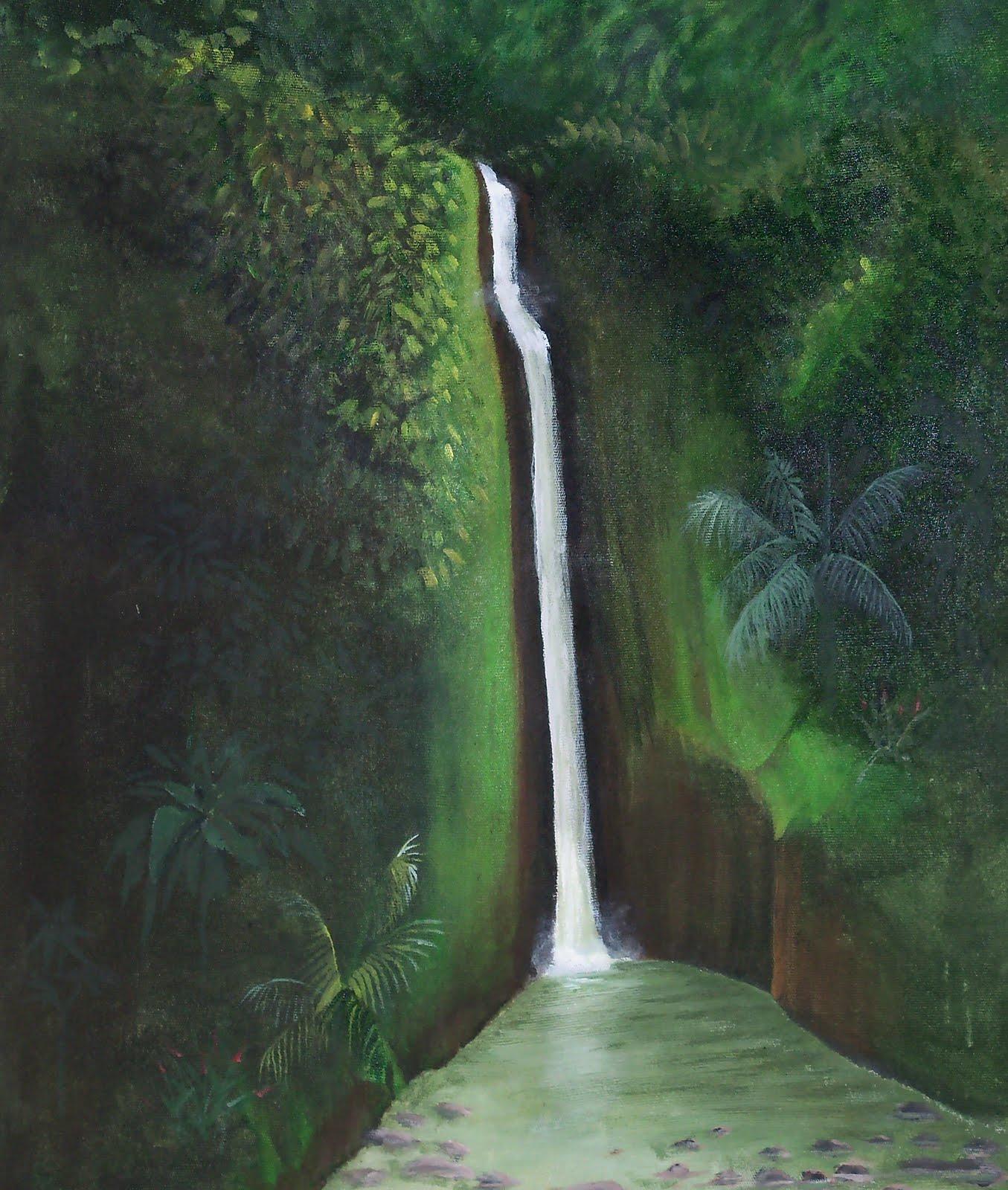 "Landscape Waterfalls: Jungle And Rainforest Art Of Costa Rica: ""Tropical"