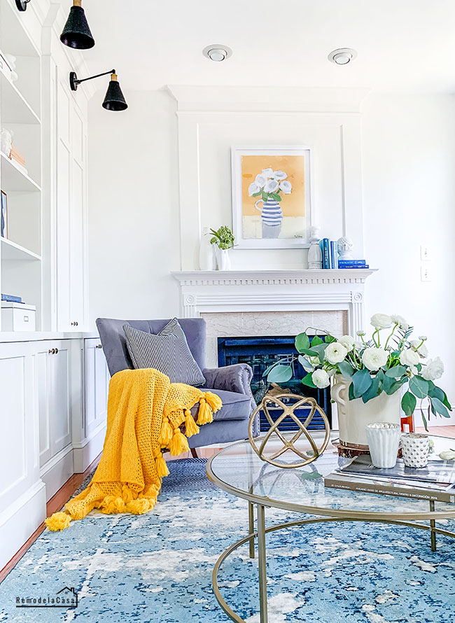 family room with yellow and blue for Spring
