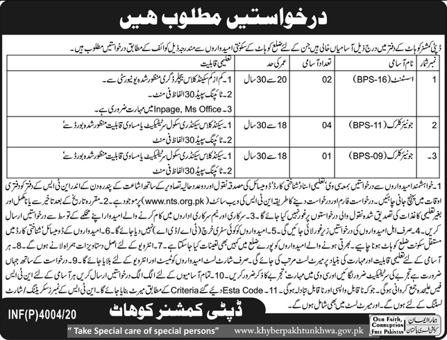 Deputy Commissioner District Office Latest Jobs in Pakistan - Download Application Form - www.nts.org.pk