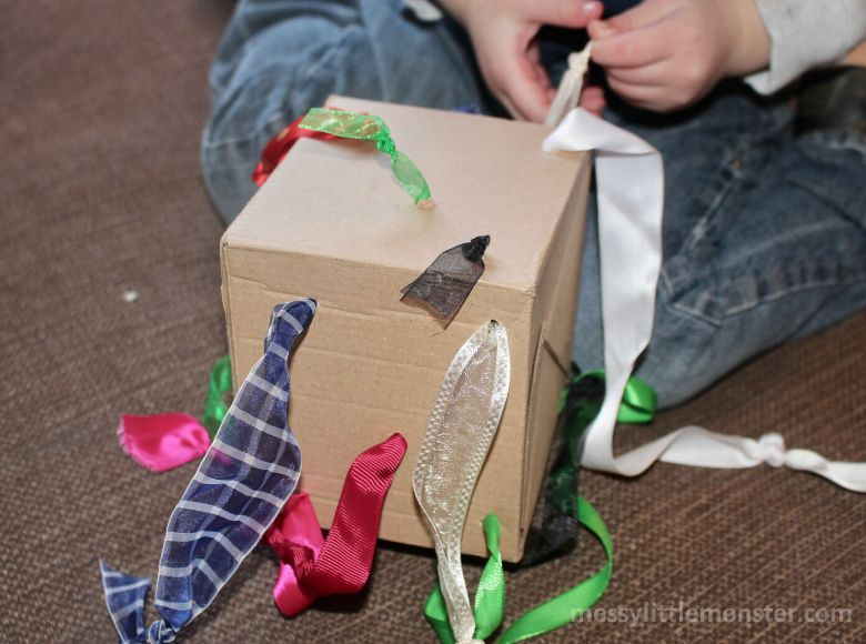 activities for babies - tug box