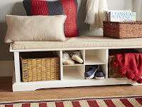 storage bench with shelves
