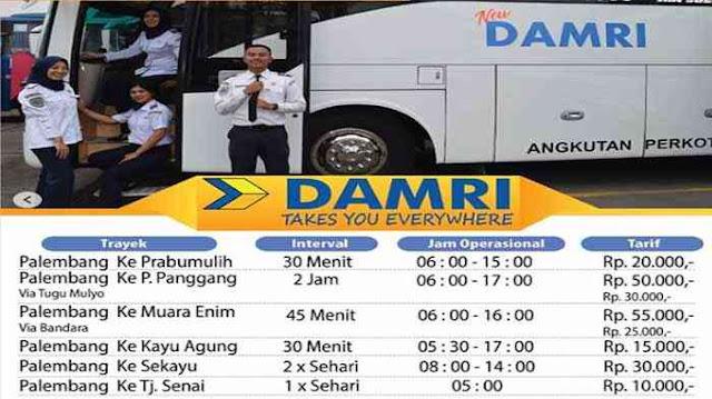 Harga Tiket Damri Palembang Muara Enim