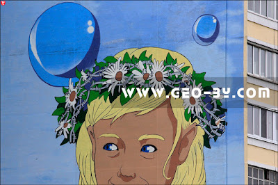 Граффити Москва-Минск. Голова девушки-Москвы в венке с колючей проволокой