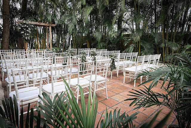 Ceremony detail shot of white chairs The Manor on St Lucie Crescent Wedding captured by Stuart Wedding Photographer Heather Houghton Photography