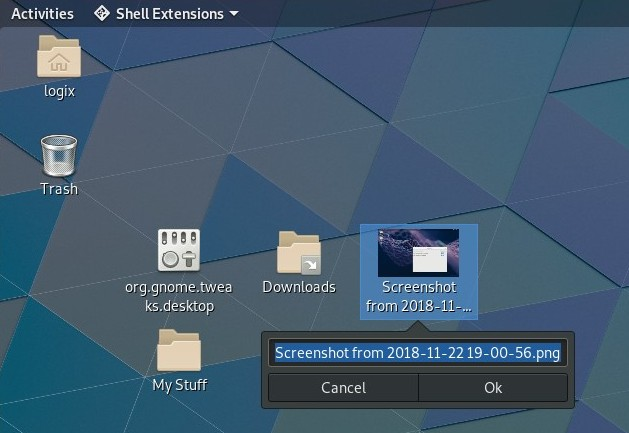 Desktop icons extension rename file