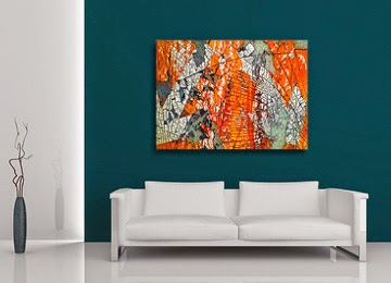 orange, abstract, canvas print, wall art, contemporary, art