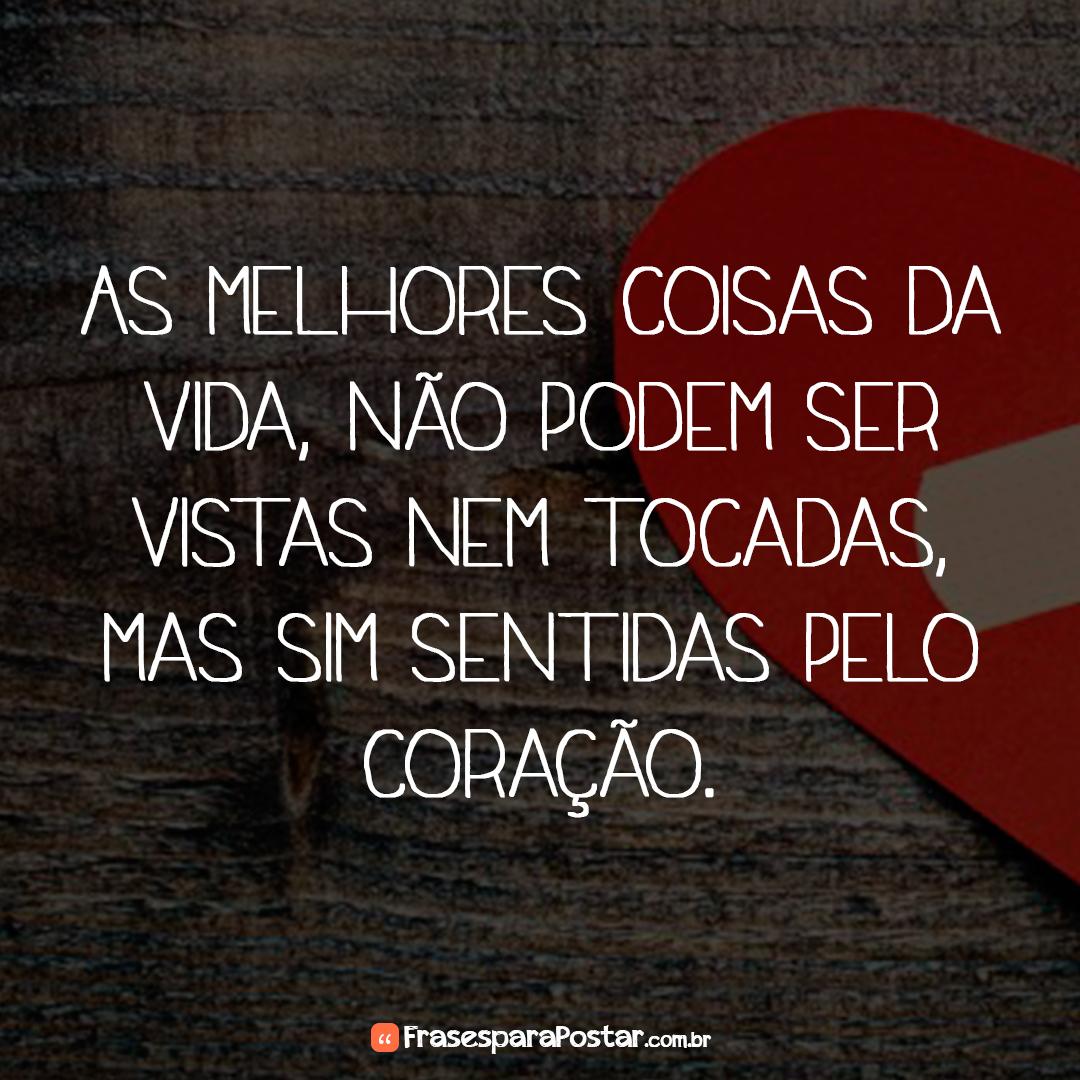As melhores coisas da vida, não podem ser vistas nem tocadas, mas sim sentidas pelo coração.