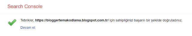 Blogger site doğrulama işlemi tamamlandı.