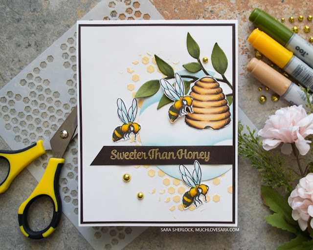 This fun card features a few fun mixed media elements, along with being a revisit to a stamp set that has not been used in a while.  All products, including Copic colors, are listed & linked on the blog post for this card.