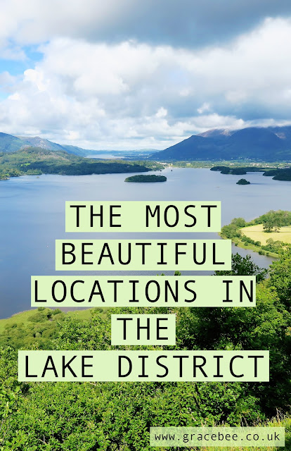 "another image of the large Ullswater lake. Text on top of the image reads ""the most beautiful locations in the lake district"""