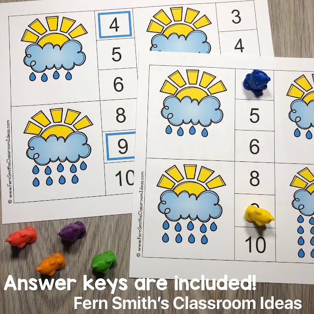 April Showers Counting Clip Cards and Worksheets #FernSmithsClassroomIdeas