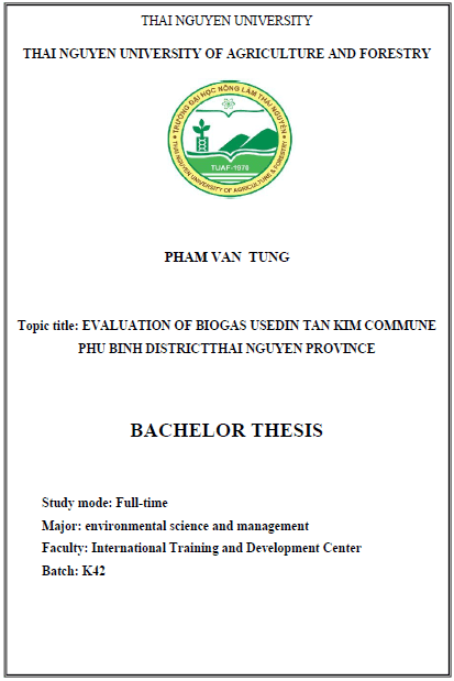 Evaluation of biogas used in Tan Kim commune Phu Binh didtrict Thai Nguyen province