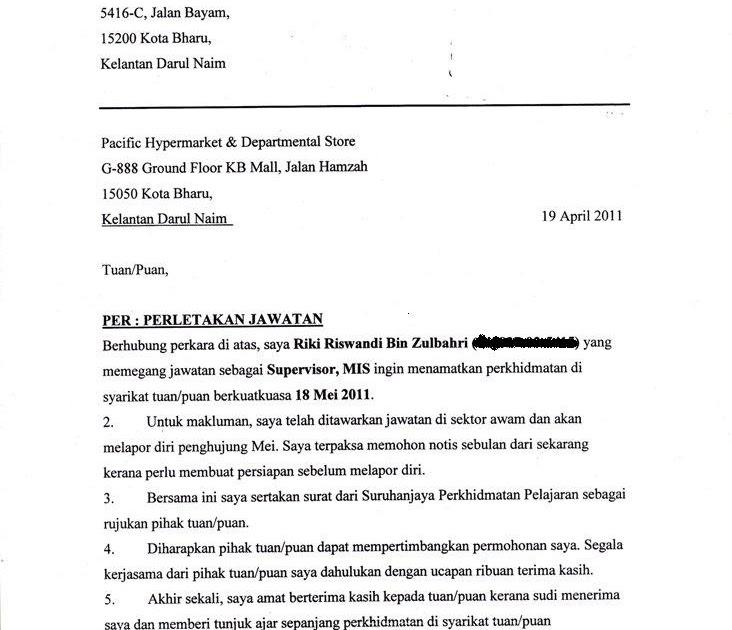 surat rasmi letak jawatan pengawas