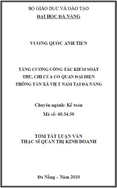 Tăng cường công tác kiểm soát thu, chi của cơ quan đại diện thông tấn xã Việt Nam tại Đà Nẵng