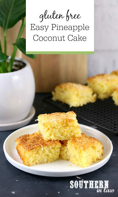Gluten Free Easy Pineapple Coconut Cake Recipe using Canned Pineapple - 7 Ingredients, Gluten Free, Wheat Free, Healthy Recipes Using Pantry Staples