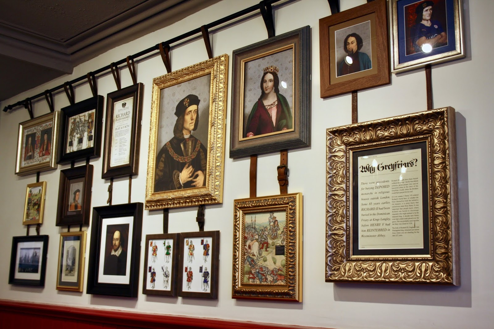 Interior decoration of King Richard III pub, Leicester, featuring pictures of King Richard and Shakespeare