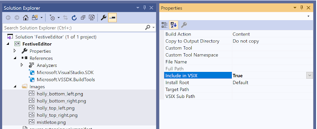 partial screenshot showing images in solution explorer and the properties window