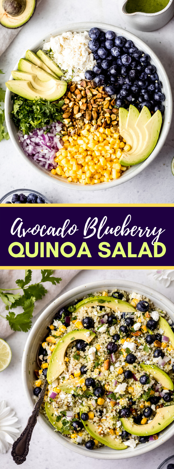 Avocado Blueberry Quinoa Salad #vegetarian #healthy