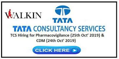 TCS Hiring for Pharmacovigilance & CDM on 24th & 25th October, 2019 | Apply Now