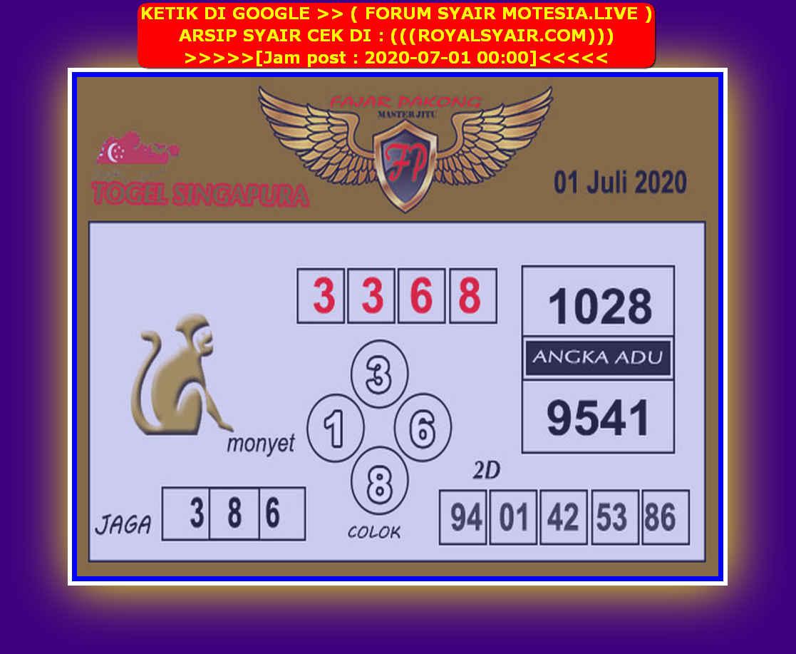 Kode syair Singapore Rabu 1 Juli 2020 229