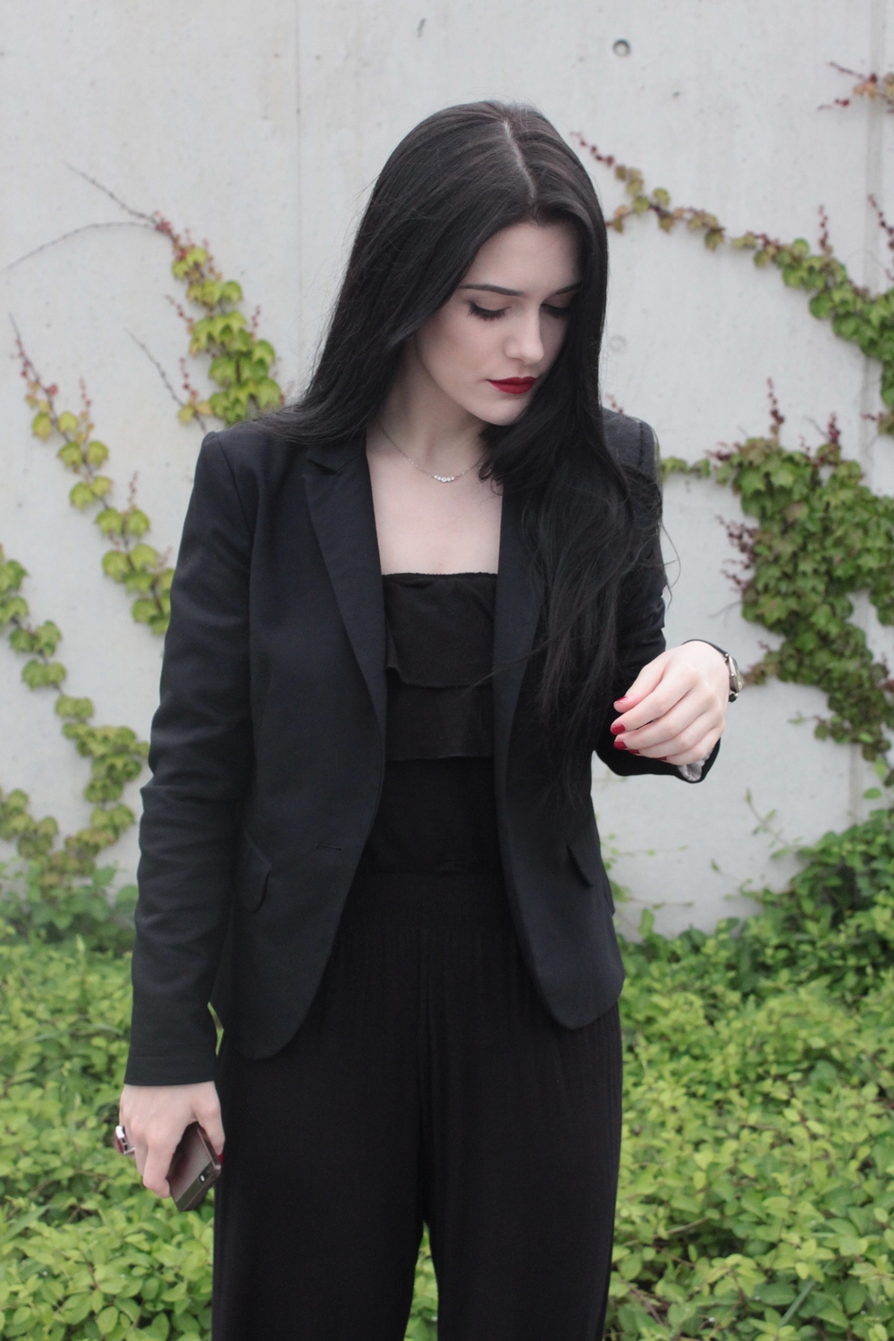 czarny kombinezon l na lato l total black l simple look