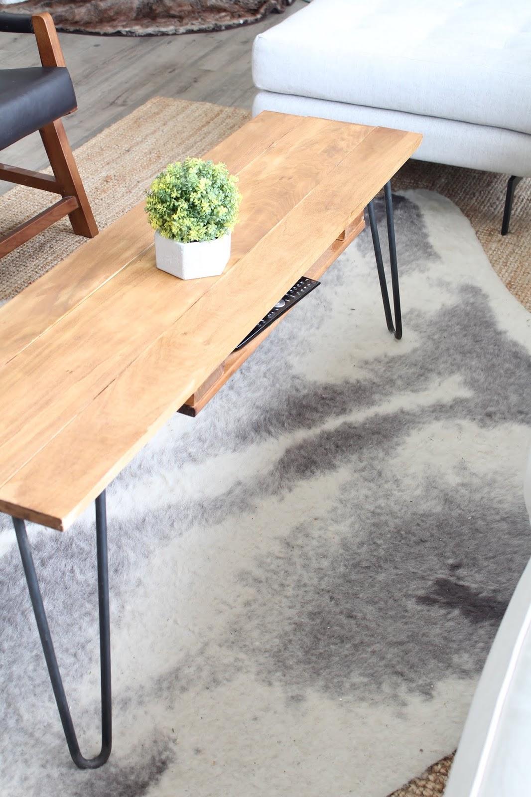 diy hairpin leg coffee table with