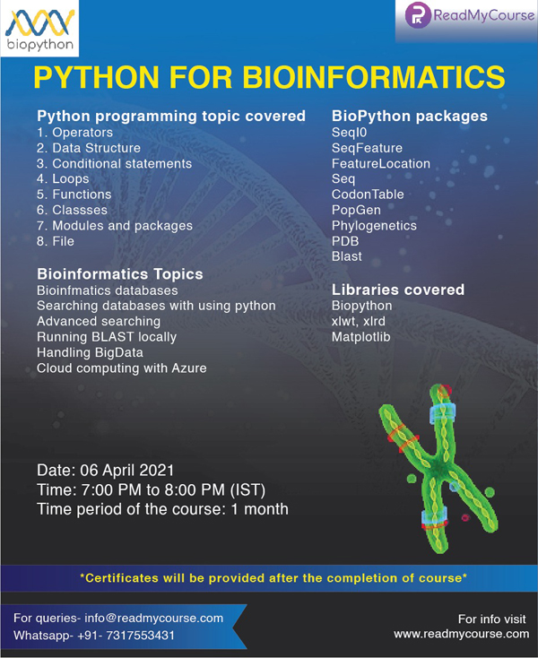 "ReadMyCourse is launching a new course ""Python for Bioinformatics"" from 7th April 2021"