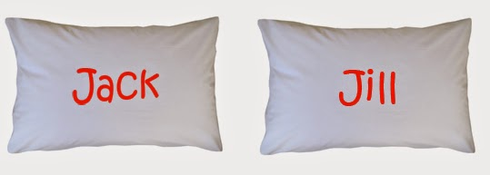 2 White pillow case printed with name in Singapore