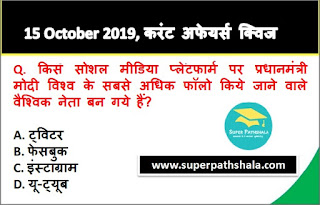 Daily Current Affairs Quiz 15 October 2019 in Hindi