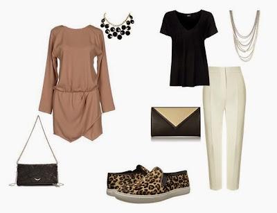 Ténis animal print com vestido castanho e mala preta a tiracolo ou Ténis animal print com calças brancas, blusa preta e clutch